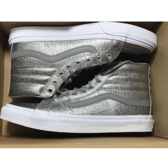 b7757007573f Vans Sk8 Hi Slim Foil Metallic Silver White Shoes